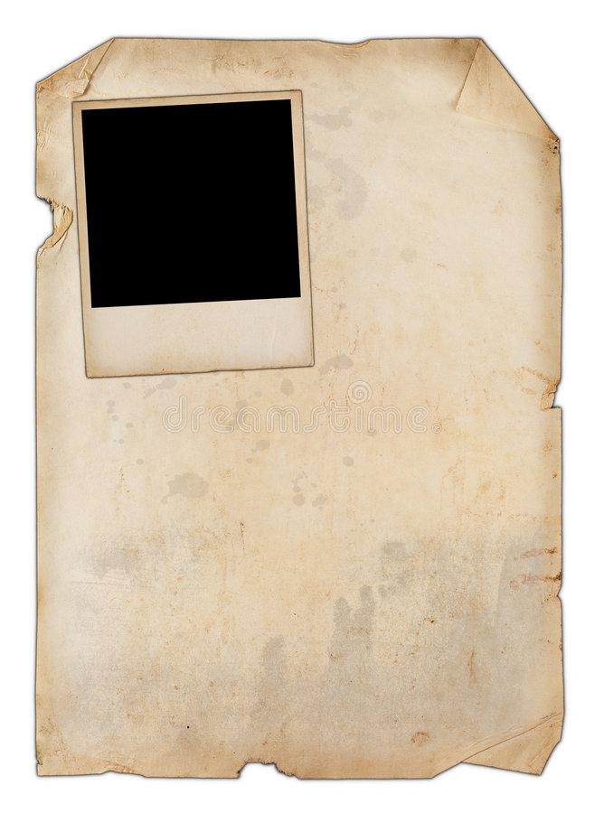 Papel viejo con una foto fotos de archivo libres de regalías
