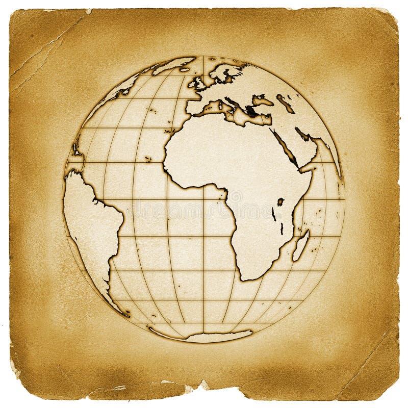 Papel viejo de la tierra del globo del planeta ilustración del vector