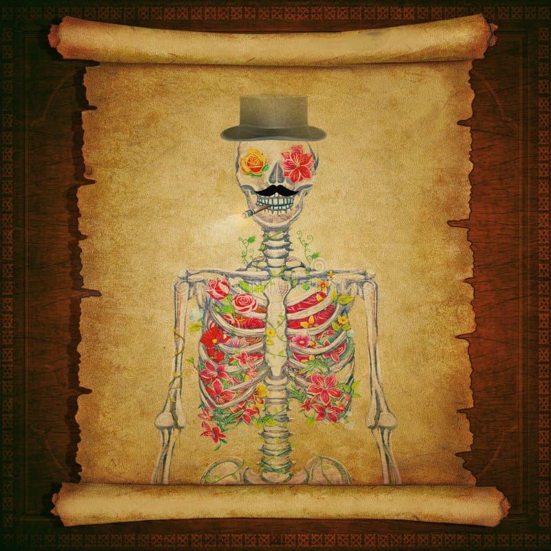 Papel viejo de la voluta con un esqueleto en fondo de madera del vintage libre illustration
