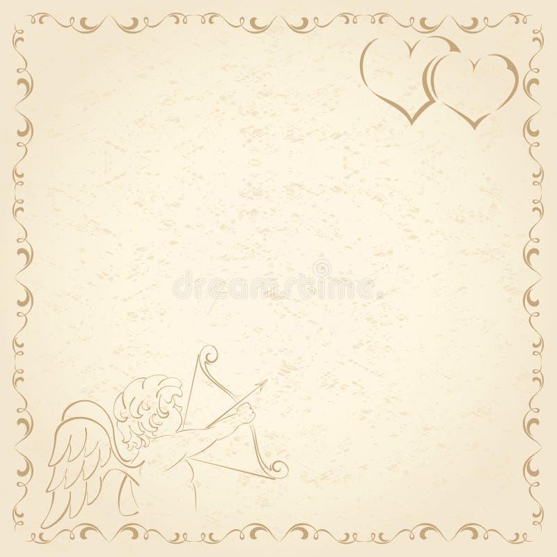 Papel viejo del grunge con el Cupid ilustración del vector