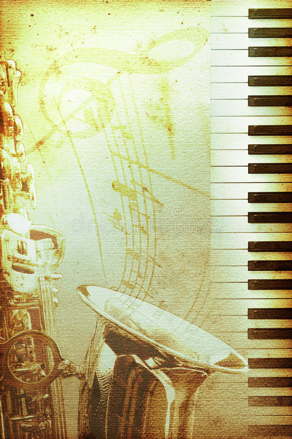 Papel viejo del jazz con el clef ilustración del vector