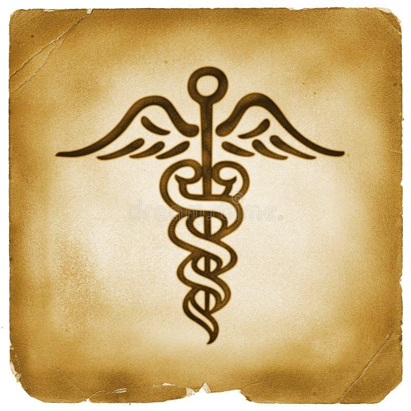 Papel viejo del símbolo de Hermes del caduceo stock de ilustración