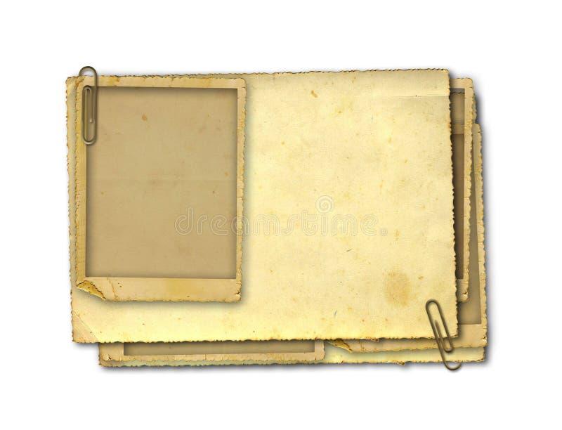 Papel viejo del vintage con los marcos del grunge imagen de archivo