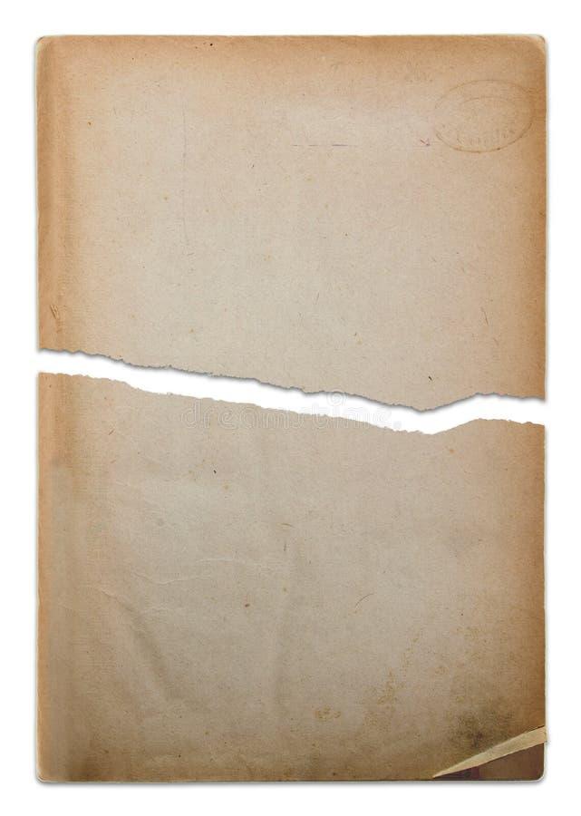Papel viejo rasgado en dos pedazos foto de archivo