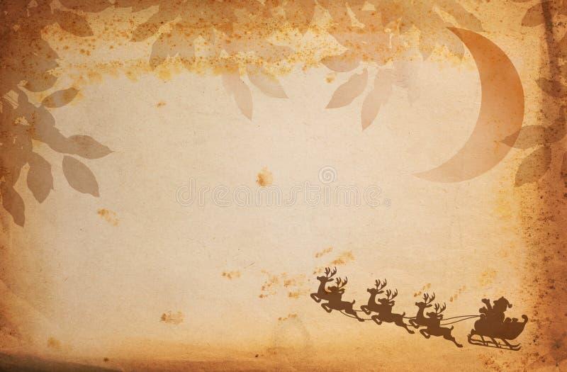 Papel y Papá Noel de la vendimia ilustración del vector