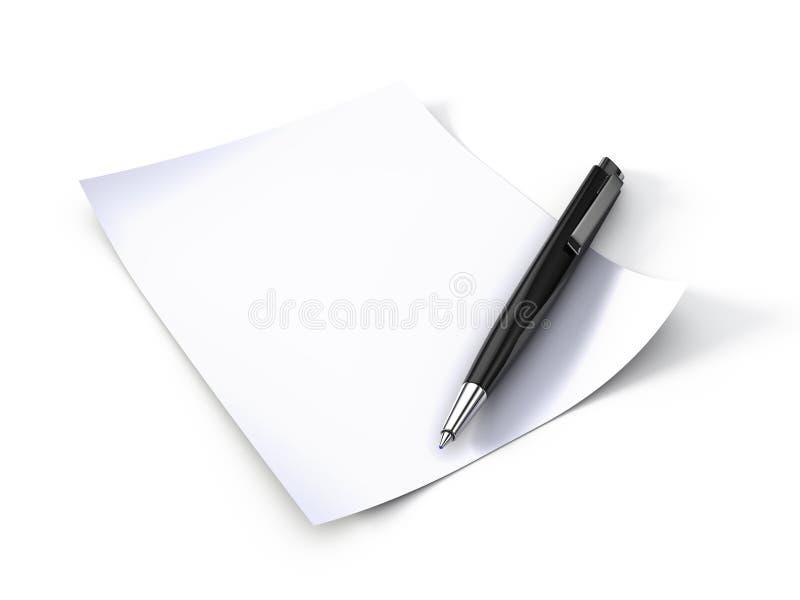 Papel y pluma de nota stock de ilustración
