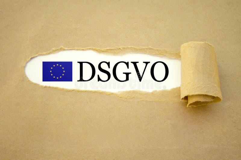 Papeleo con la protección de datos general GDPR de regla DSGVO foto de archivo libre de regalías