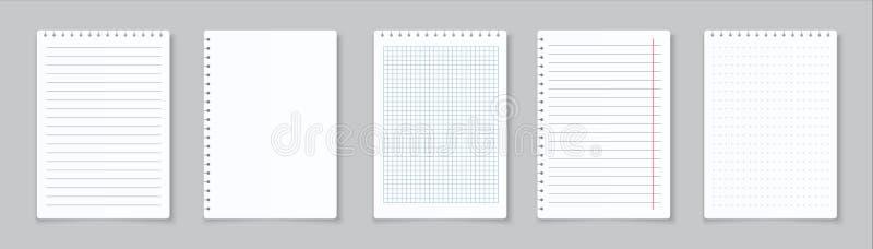Papeles de carta alineados realistas Papeles cuadriculados en blanco del cuaderno para la preparación y los ejercicios Hojas de p libre illustration