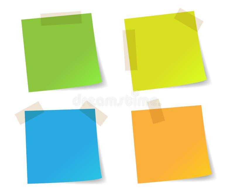 Papeles de nota del palillo coloridos ilustración del vector