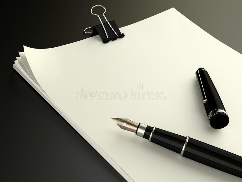 Papeles de nota en blanco con la pluma stock de ilustración