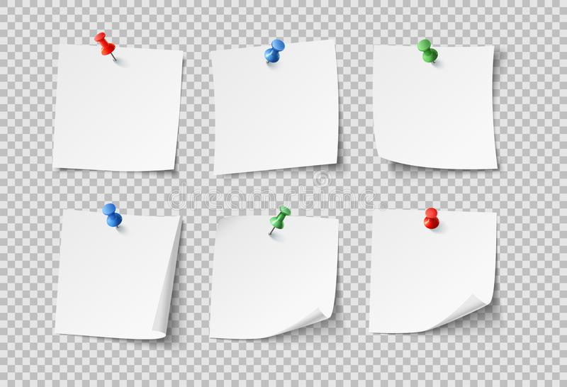 Papeles de nota Notas pegajosas en blanco blancas con los pernos del color Nadie sistema de papel del vector aislado libre illustration