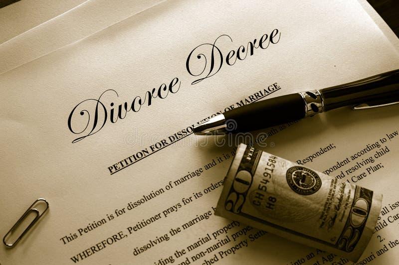 Papeles del divorcio fotos de archivo