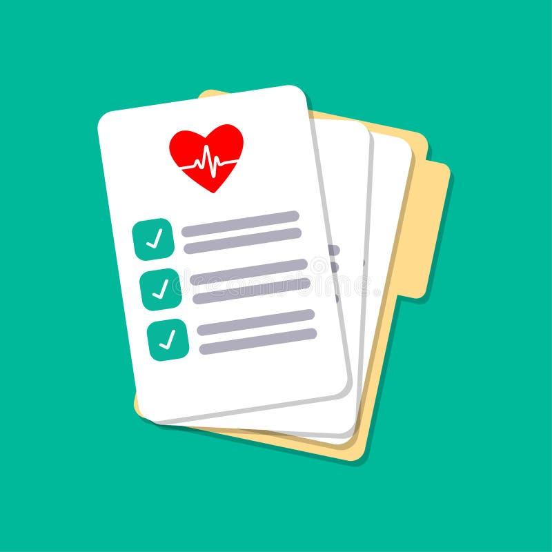 Papeles médicos, seguro aislados en fondo Cuide los documentos, papeleo, plan Diseño plano del vector ilustración del vector