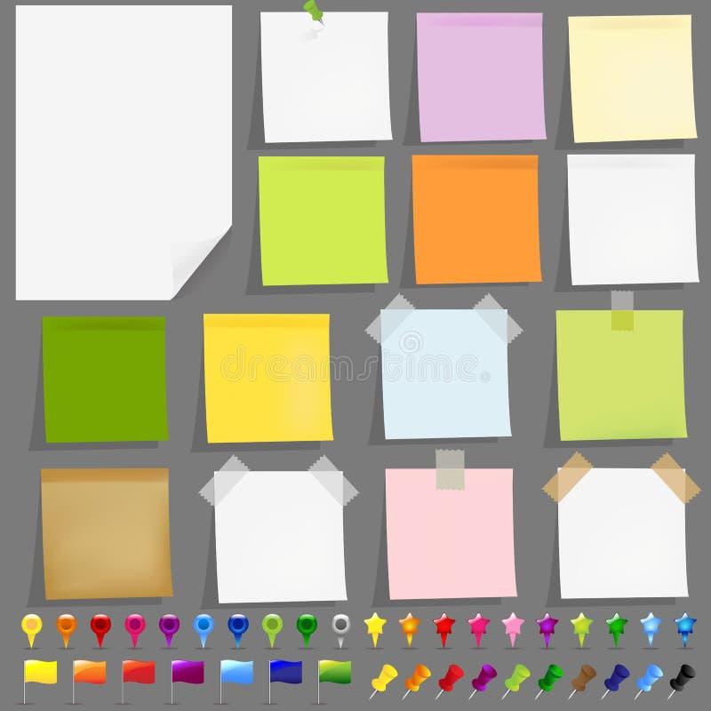 Papeles pegajosos con las cintas adhesivas libre illustration