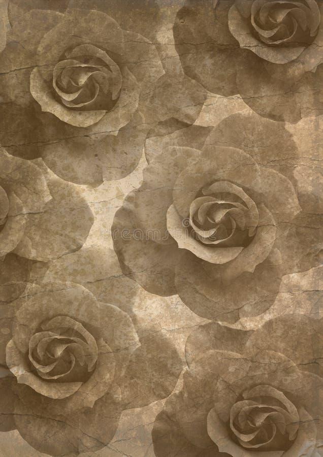 Papeles viejos textura, rosas ilustración del vector