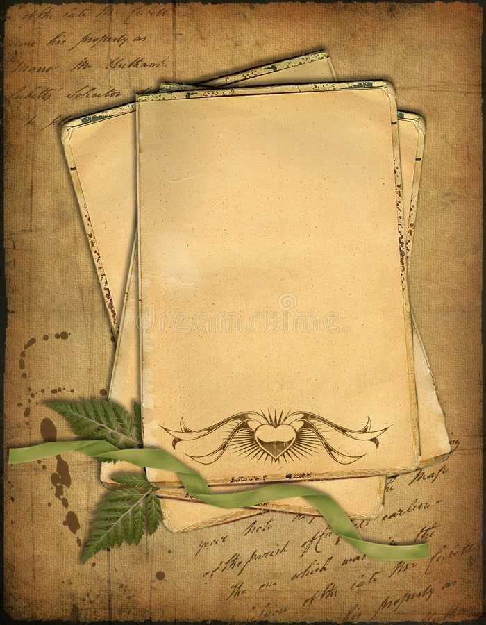 Papeles y herbario viejos imagen de archivo libre de regalías