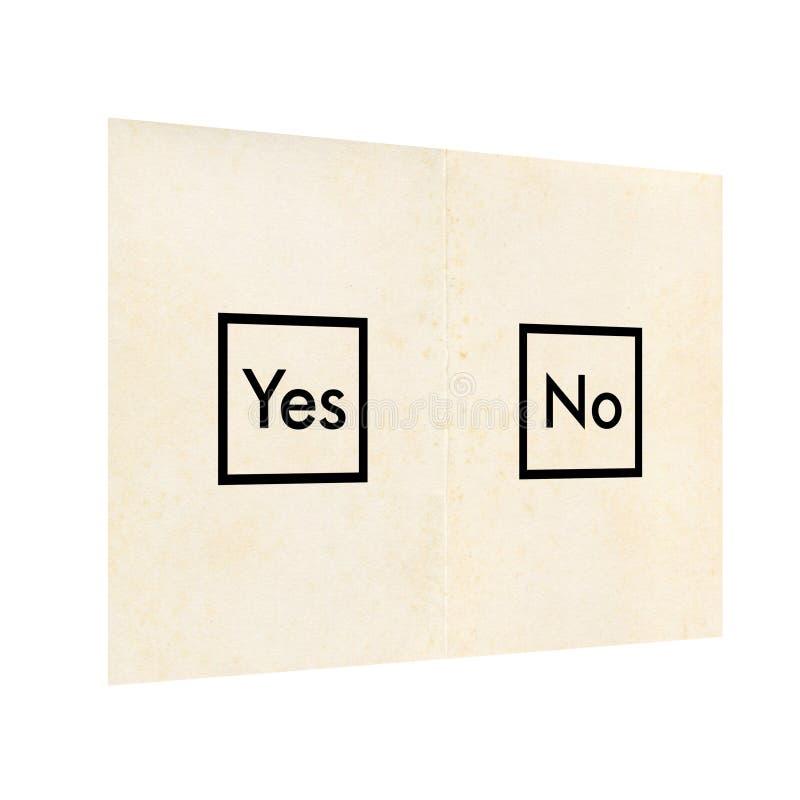 Papeleta electoral con sí y ningún aislados sobre blanco imagen de archivo