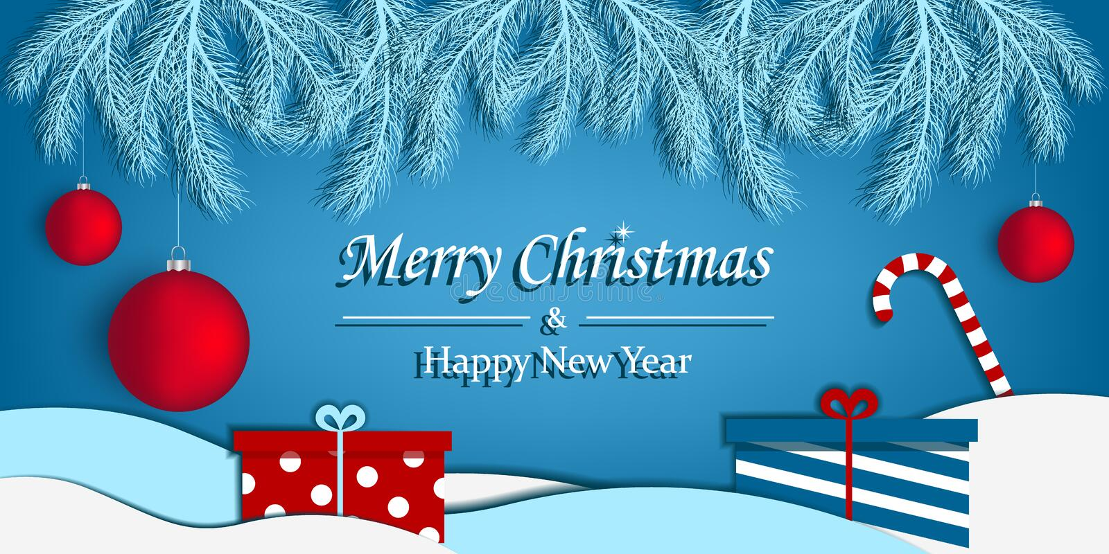 Merry Christmas and Happy New Year greeting card. Abstract background. vector illustration