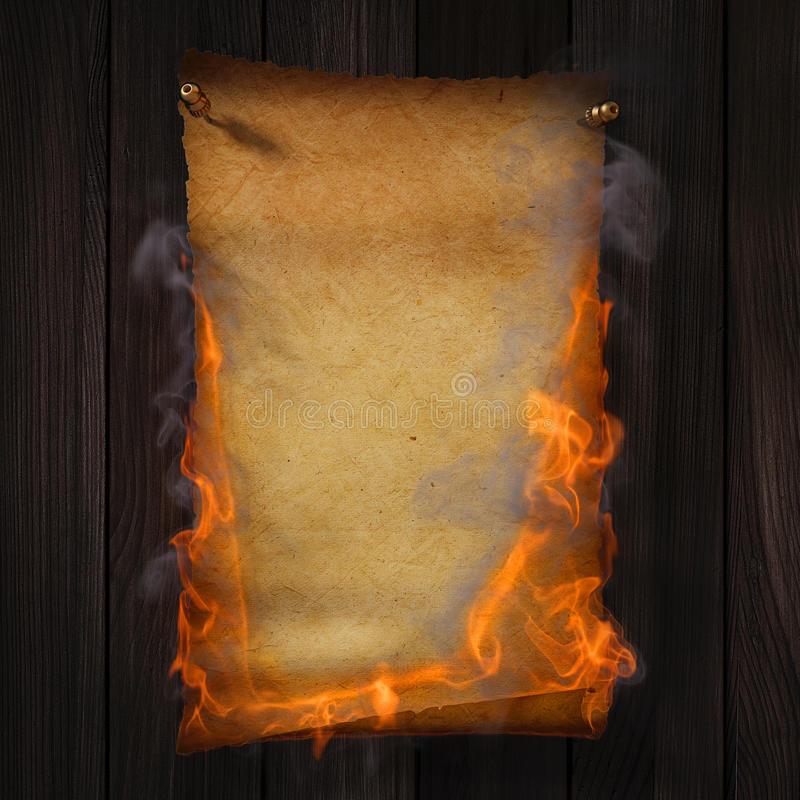 Paper. Burning old yellow paper on brown wood texture vector illustration