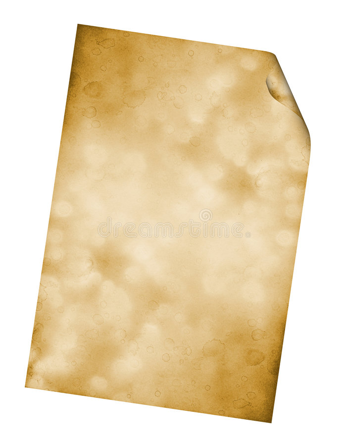 Paper. Ancient sheet of a paper. The right bottom corner of a sheet will bend to reading royalty free stock photo