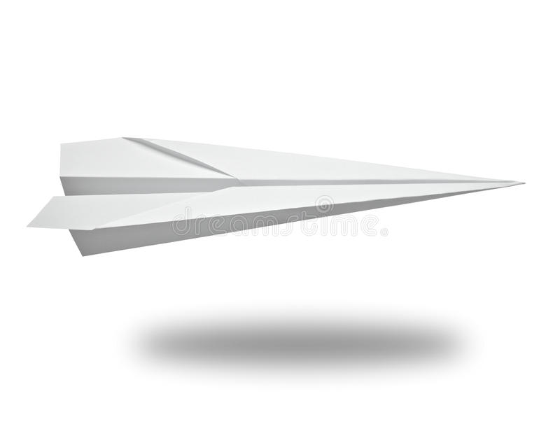 Paper airplane. Close up of a paper airplane on white background with clipping path stock photography