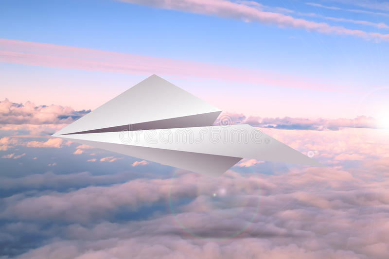 Paper airplane. In the sky royalty free stock photos