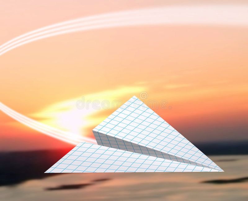 Paper airplane. Fly over evening. Red sun on background royalty free stock photo