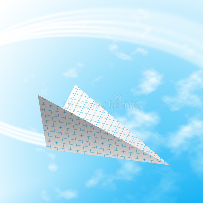 Paper airplane. Fly over day sky and clouds royalty free stock images