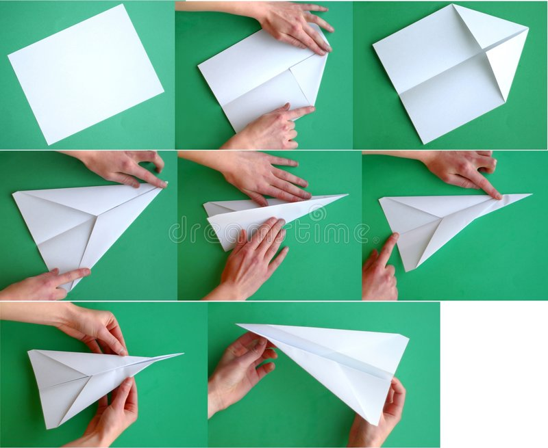 Paper Airplane. Steps of folding a paper airplane. Request from the Photographer: If you incorporate this image in your work, we would love to hear how you have stock photography