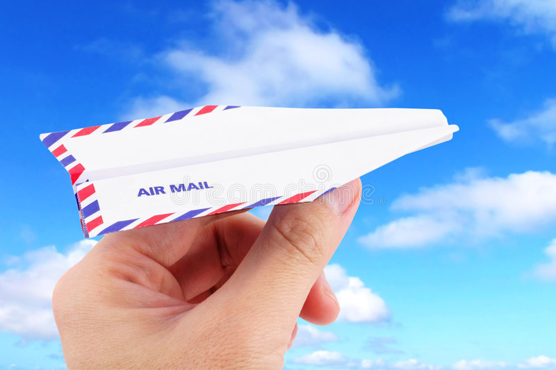 Paper airplane airmail concept. Envelope paper airplane,airmail concept stock image