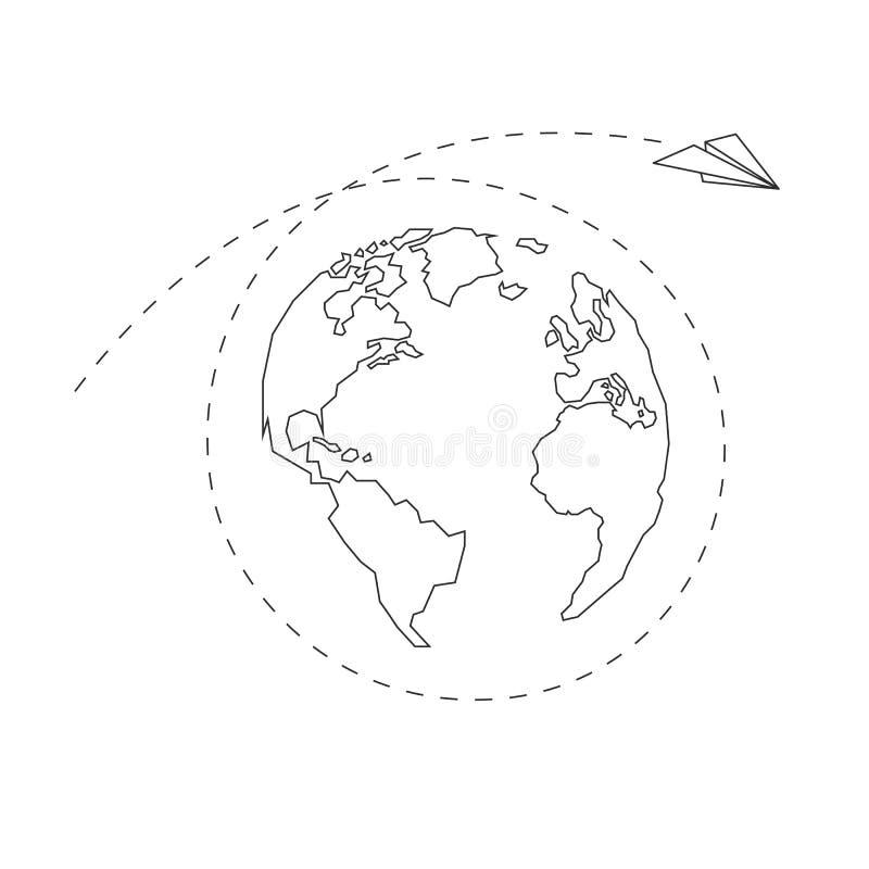 Paper airplane around the globe. America, Europe, Atlantic Ocean stock illustration