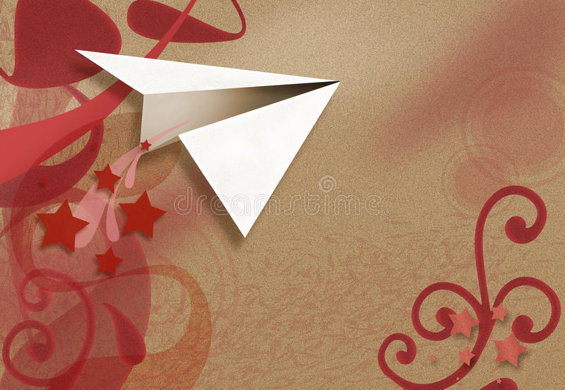 Paper airplane. A paper airplane on a background of red colored shapes and stars royalty free stock photography