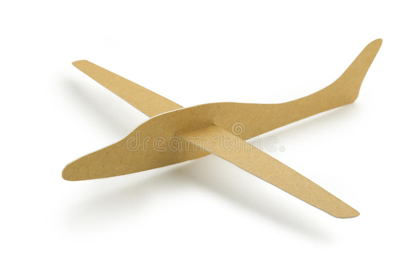 Paper airplane. Brown paper airplane isolated on white background royalty free stock photo