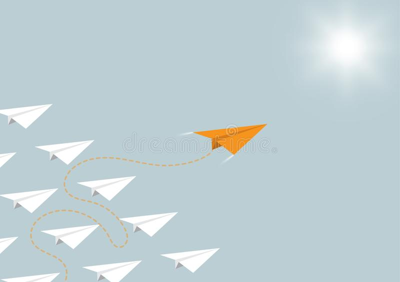 Paper airplane competition with orange airplane ahead, business competition leadership ambitious successful goal concept. Vector illustration vector illustration