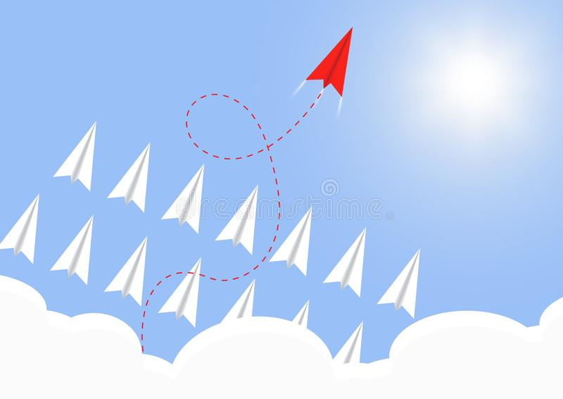 Paper airplane flying above cloud with  red  airplane ahead, business competition leadership ambitious successful goal concept. Vector illustration royalty free illustration