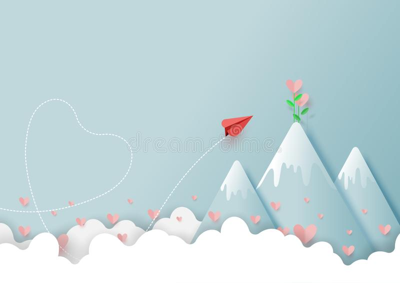 02.Paper airplane flying to love plant on top of mountain. Paper art style of valentine`s day greeting card and love concept.Origami red paper airplane flying to stock illustration
