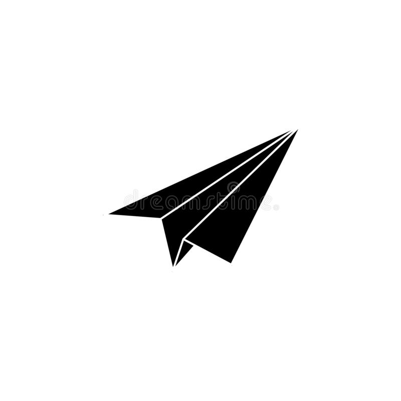 Paper airplane icon. Simple glyph, flat vector of Web icons for UI and UX, website or mobile application. On white background stock illustration