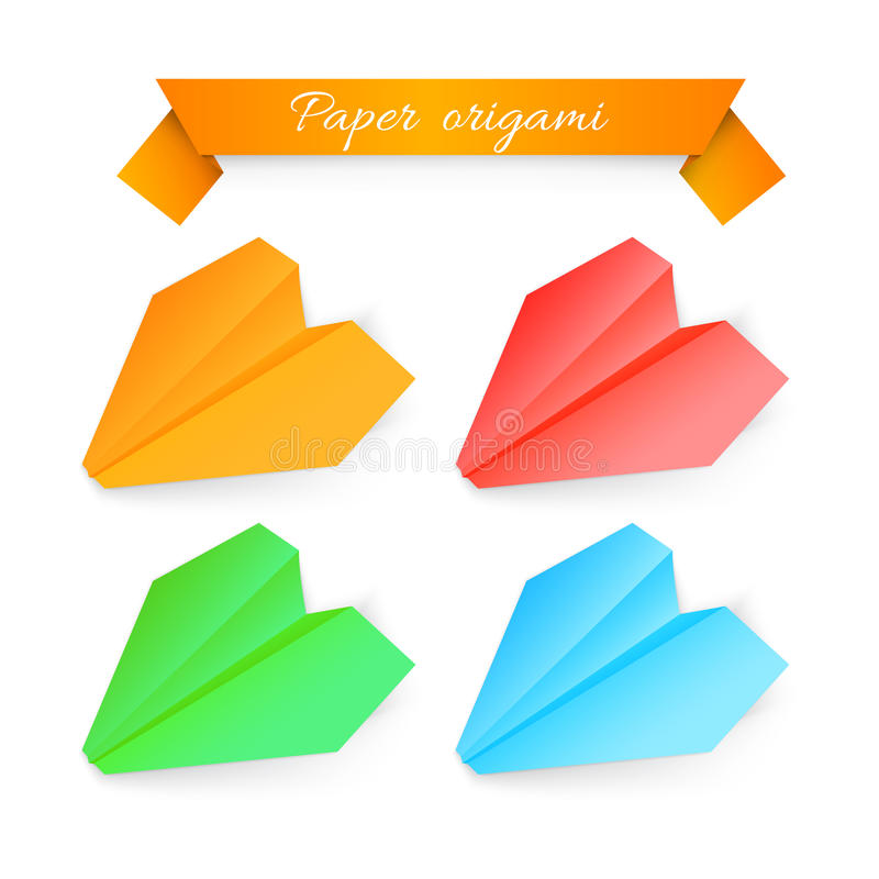 Paper Airplane Origami. Vector Illustration Stock Photography