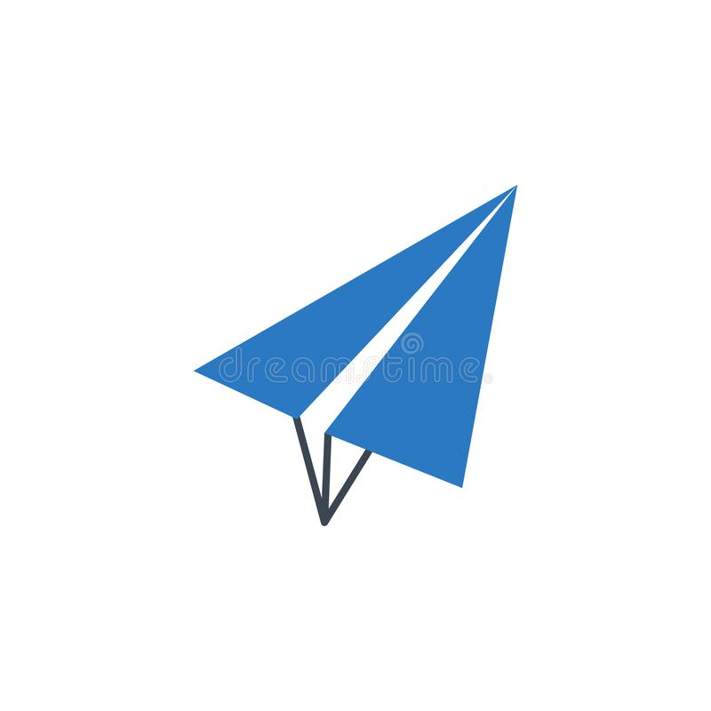 Paper Airplane related vector glyph icon. Isolated on white background. Vector illustration stock illustration