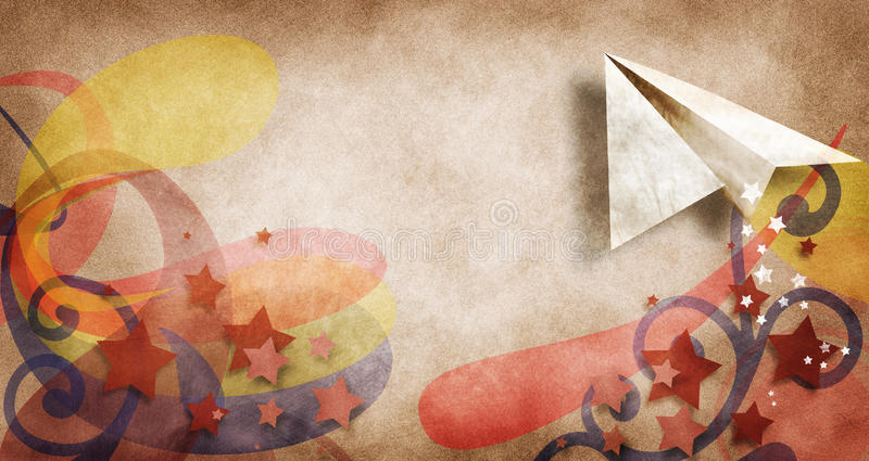Paper airplane. A paper airplane on a retro background of shapes and stars royalty free stock photography