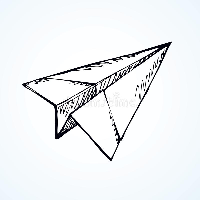 Paper Airplane Vector Drawing Stock Vector Illustration Of Game