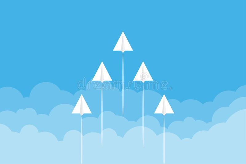 Paper airplanes flying from clouds on blue sky.Paper art style of business teamwork creative concept idea. stock illustration