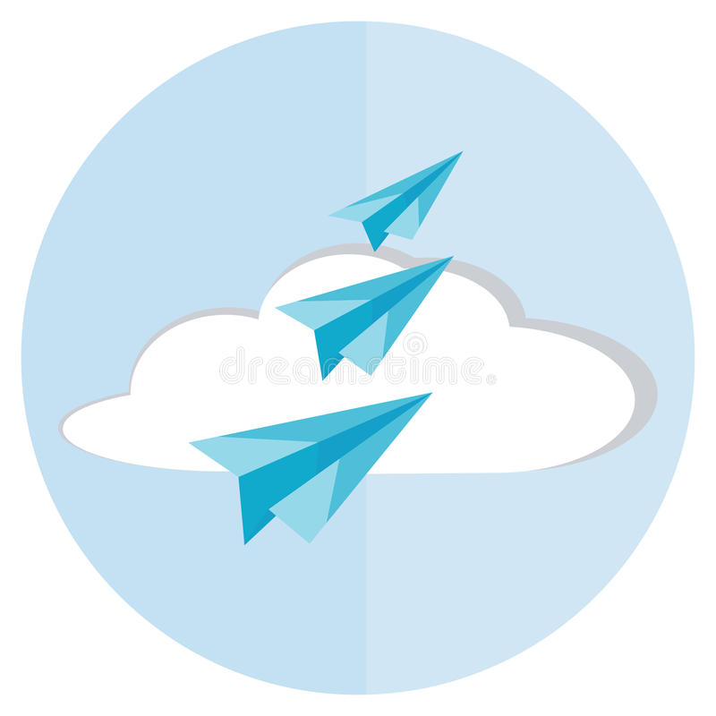 Paper airplanes icon flat royalty free illustration