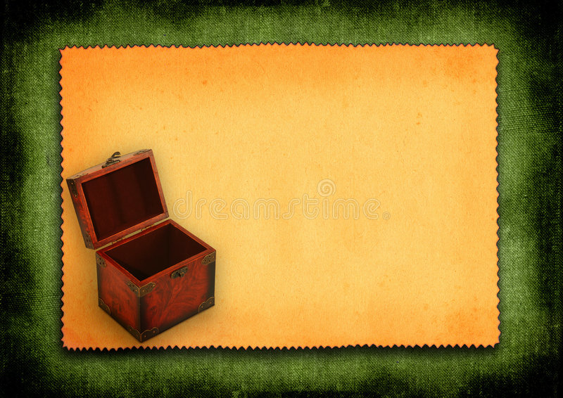 Paper with antique wooden trunk stock images
