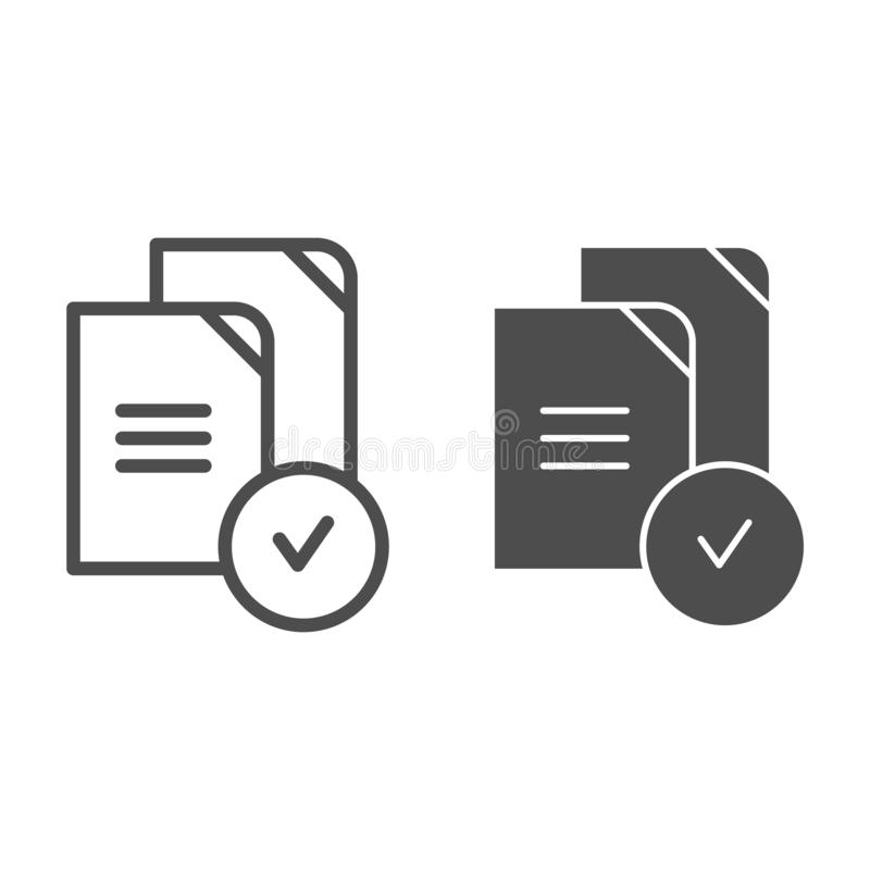 Paper approved line and glyph icon. Verified documents vector illustration isolated on white. Checkmark on files outline. Style design, designed for web and app vector illustration