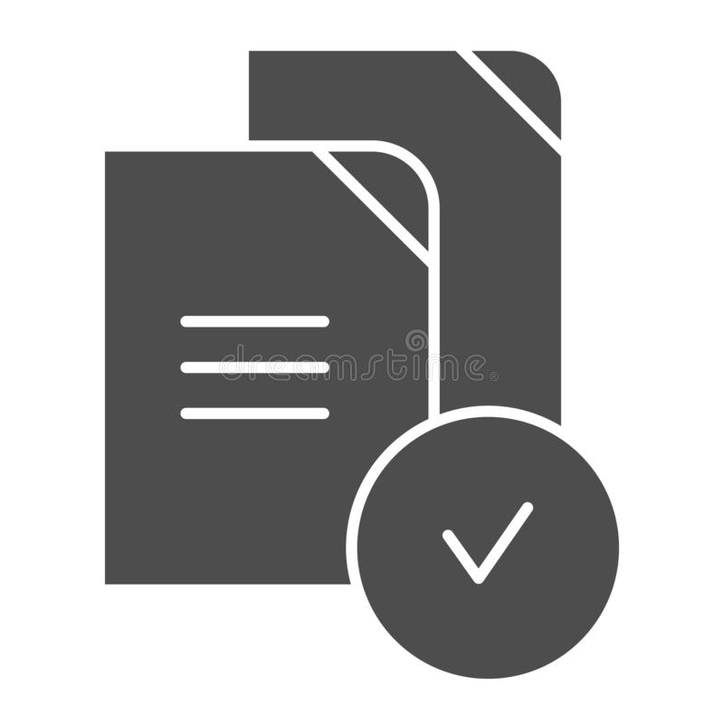 Paper approved solid icon. Verified documents vector illustration isolated on white. Checkmark on files glyph style. Design, designed for web and app. Eps 10 royalty free illustration