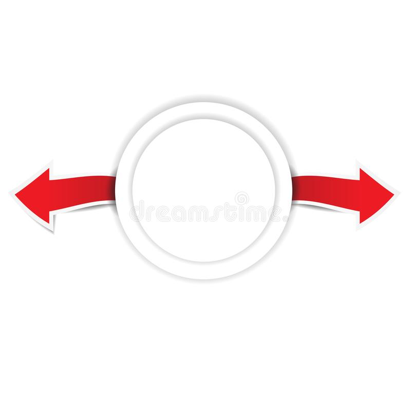 Paper arrow with paper circle vector illustration