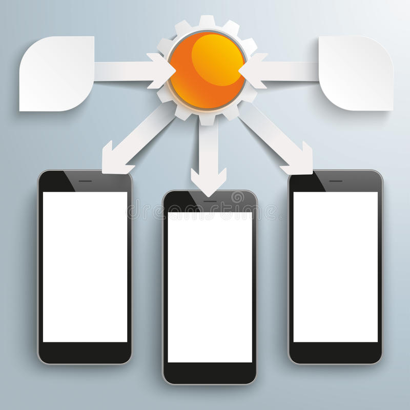 Paper Arrows Big Flowchart Infographic 3 Smartphones. White paper arrows with gears, arrows and smartphones on the gray background stock illustration