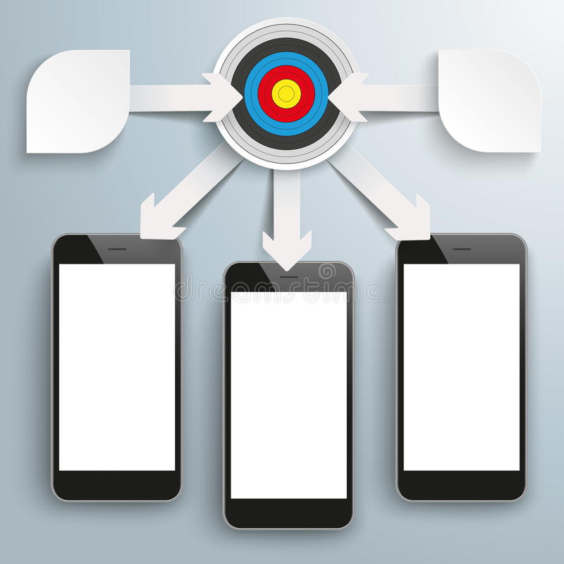 Paper Arrows Big Flowchart Infographic Target 3 Smartphones. White paper arrows with gears, target, arrows and smartphones on the gray background vector illustration