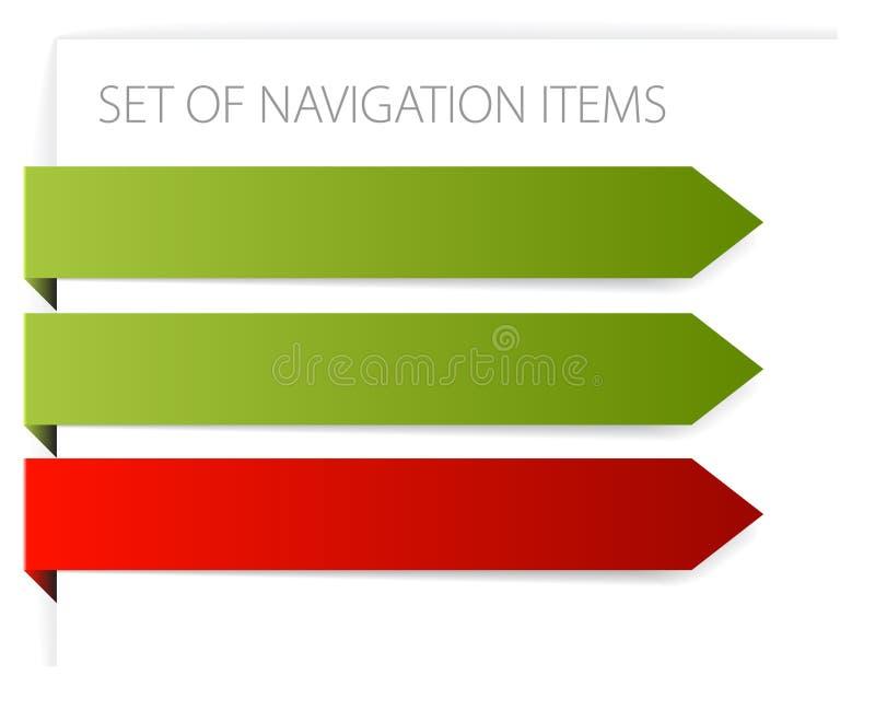 Paper arrows - modern navigation items vector illustration